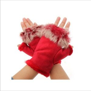 Fingerless Fur Leather Insulated Thermo Gloves